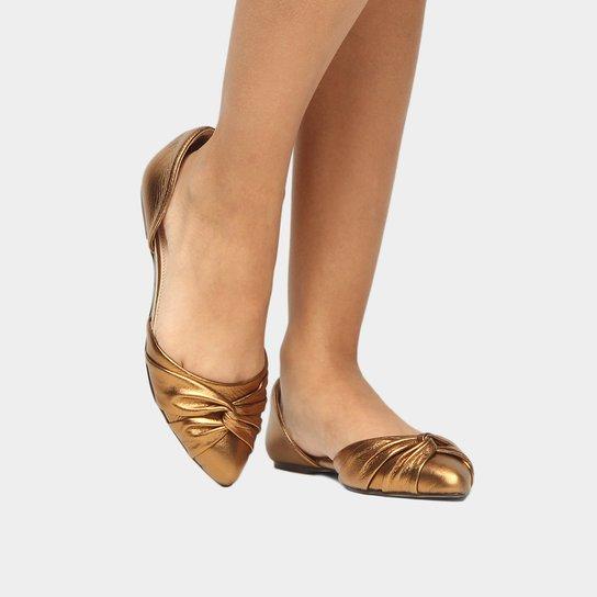 Sapatilha Couro Shoestock Nó Feminina - Dourado