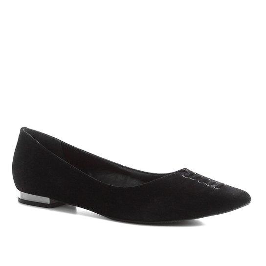 Sapatilha Couro Shoestock Nobuck Lace Feminina - Preto