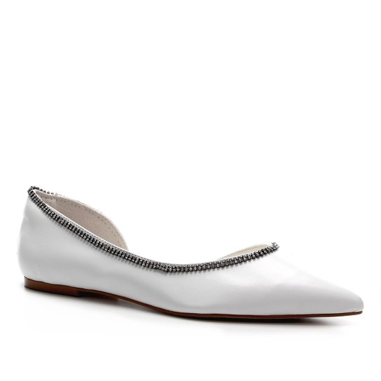 Sapatilha Couro Shoestock Noiva Feminina - Branco