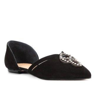 Sapatilha Couro Shoestock Pedra Cristal Feminina