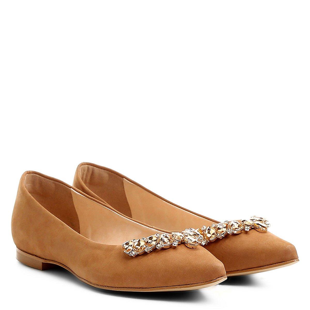Feminina Caramelo Caramelo Sapatilha Couro Feminina Sapatilha Shoestock Pedraria Sapatilha Pedraria Couro Shoestock wxvxtq7BT