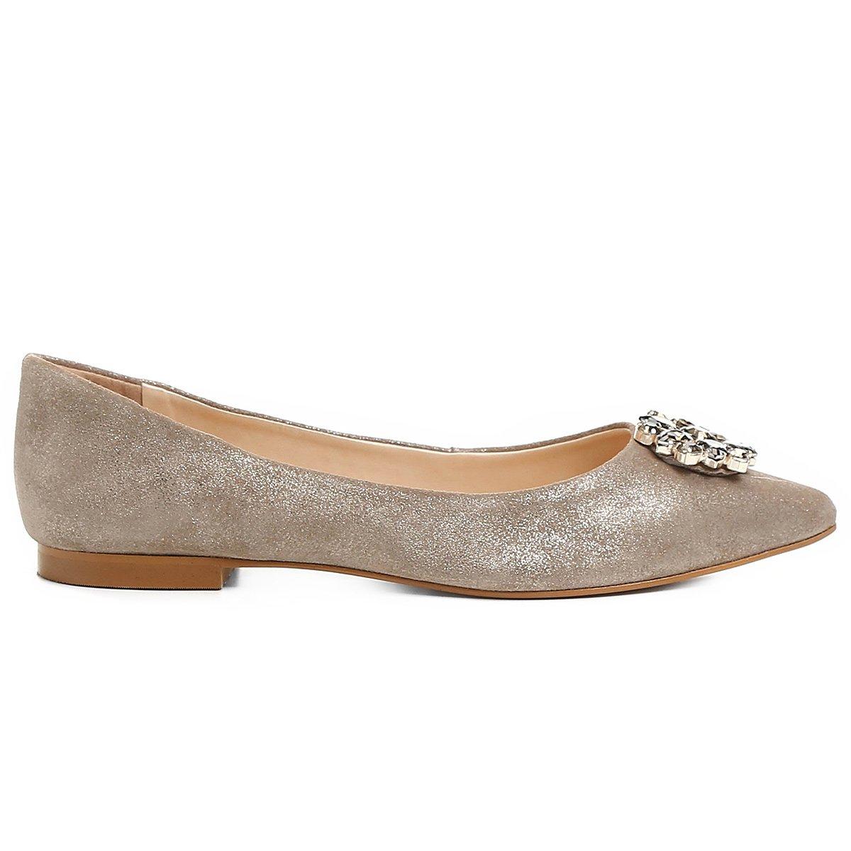 Shoestock Couro Feminina Sapatilha Sapatilha Dourado Couro Pedraria EwavWWtq