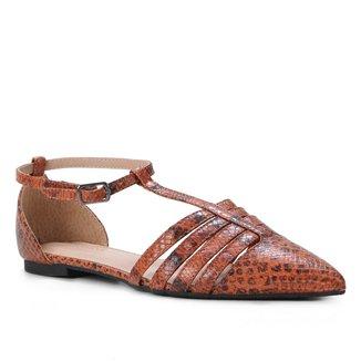 Sapatilha Couro Shoestock Salomé Cobra Feminina