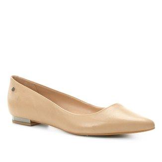 Sapatilha Couro Shoestock Salto Metalizado Feminina