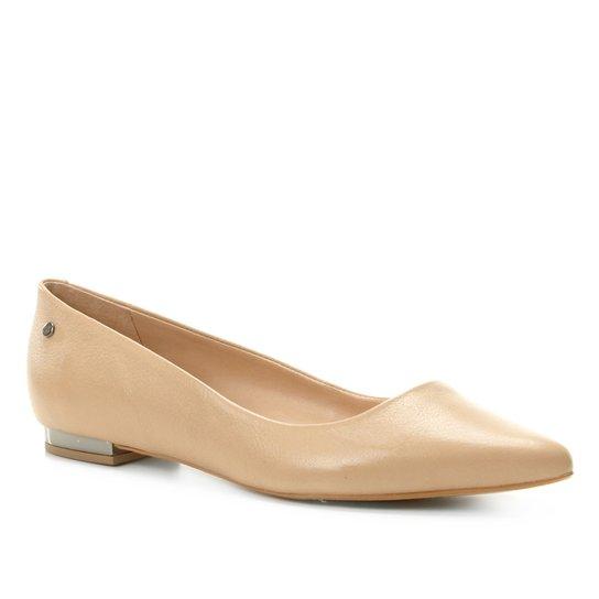 Sapatilha Couro Shoestock Salto Metalizado Feminina - Bege