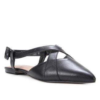 Sapatilha Couro Shoestock Slingback Bico Fino Feminina