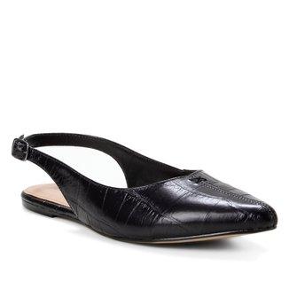 Sapatilha Couro Shoestock Slingback Croco Feminina