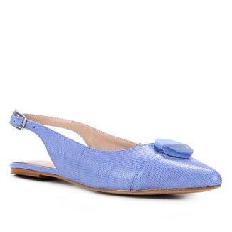 Sapatilha Couro Shoestock Slingback Enfeite Acrílico Feminina