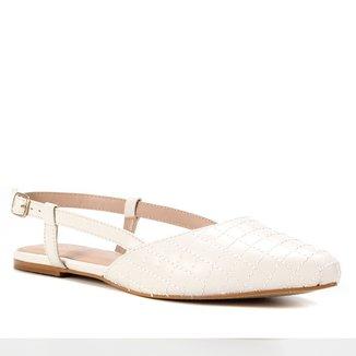 Sapatilha Couro Shoestock Slingback Matelassê Feminina