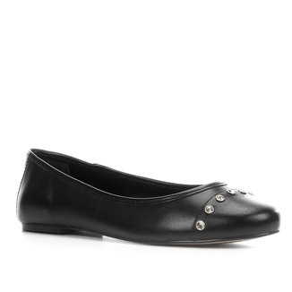Sapatilha Couro Shoestock Strass Feminina