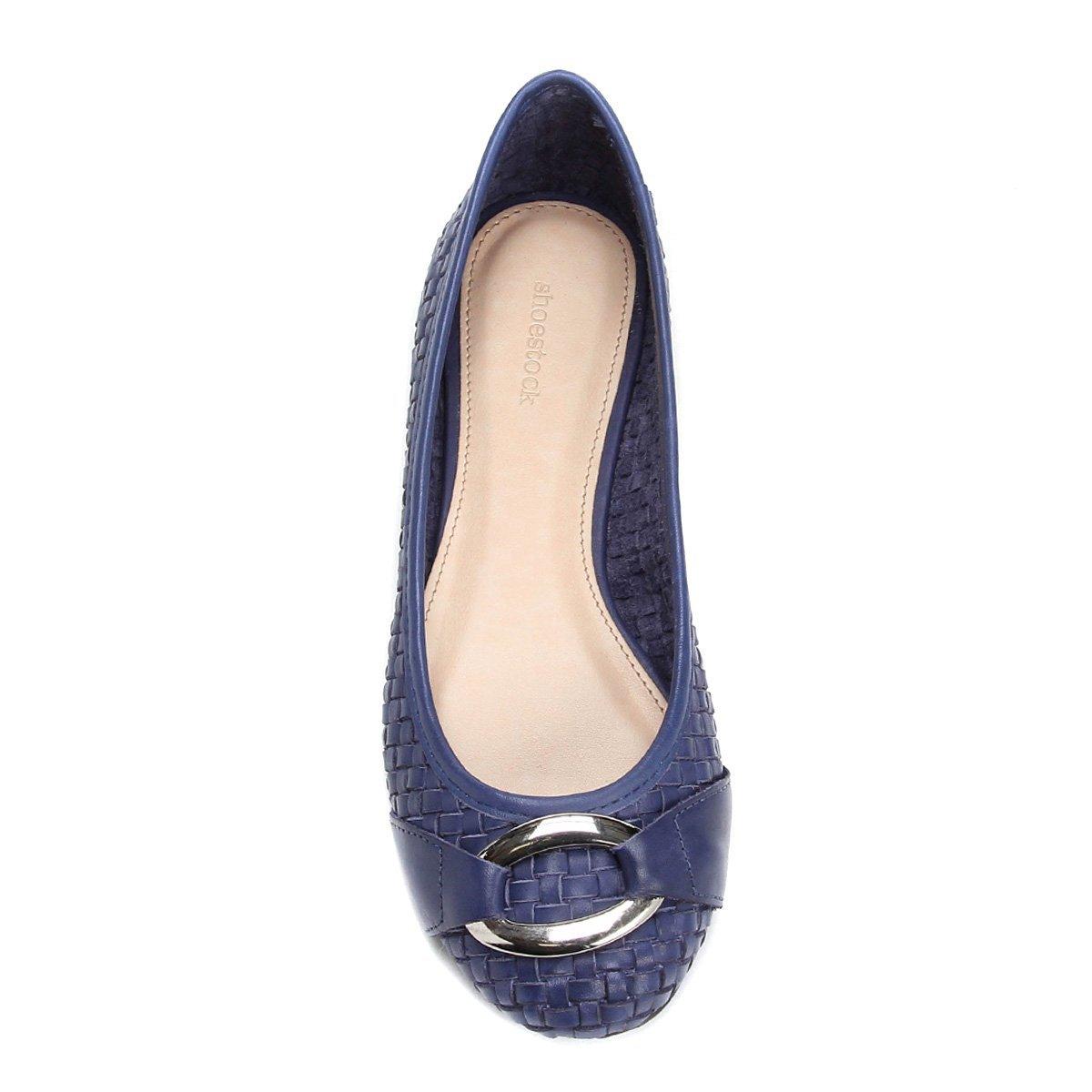 Couro Shoestock Sapatilha Couro Feminina Tressê Sapatilha Sapatilha Azul Azul Feminina Shoestock Couro Tressê zq6B86xn