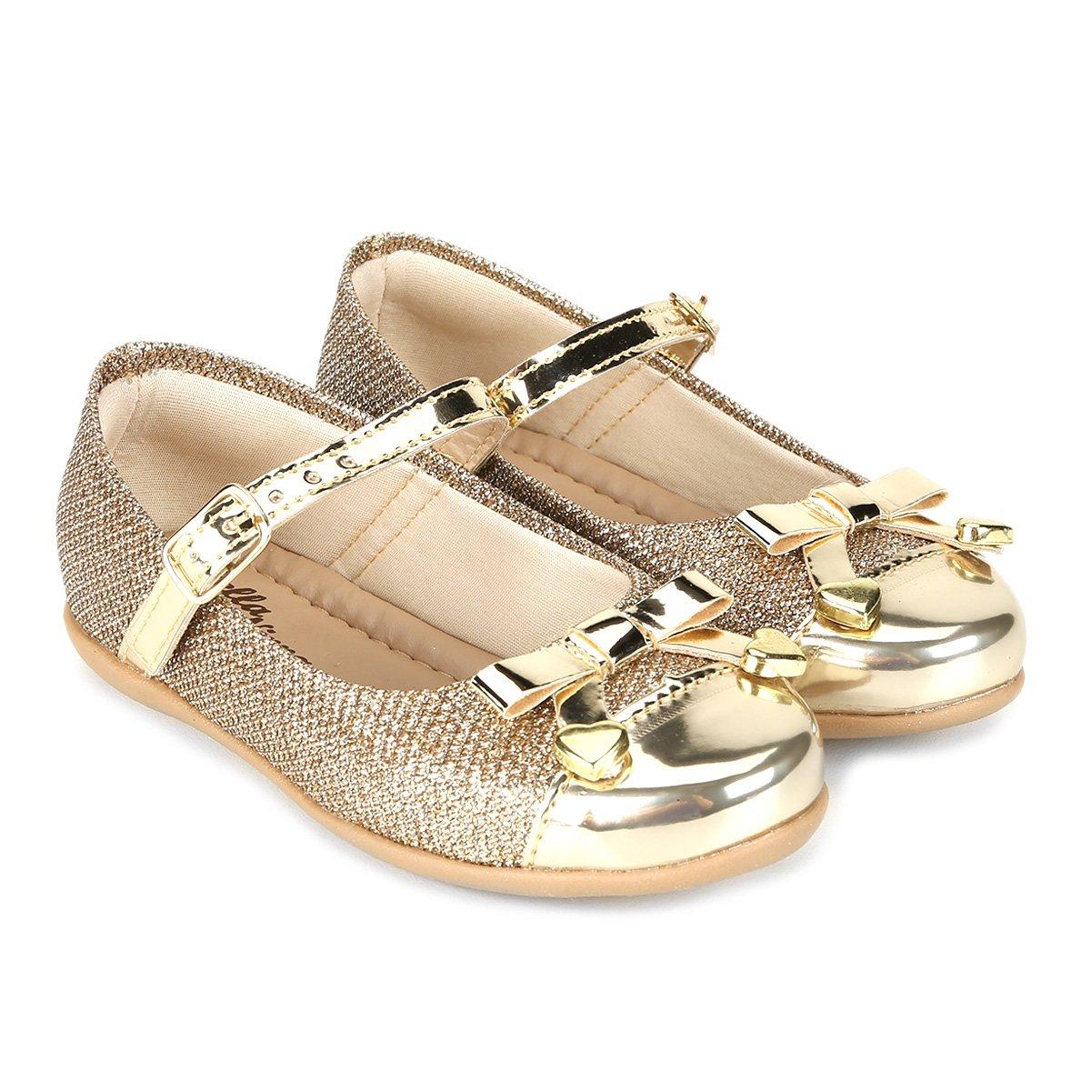 e467aeb6d65 Sapatilha Infantil Bella Ninna Laço - Dourado - Compre Agora