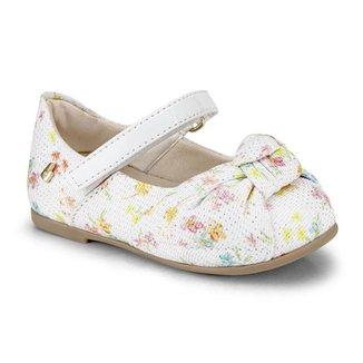 Sapatilha Infantil Bibi Anjos Feminina Branca Flores 1072279