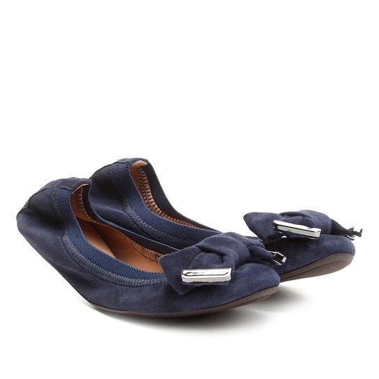 Sapatilha Infantil Couro Shoestock Elástico Camurça - Marinho