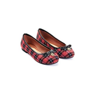Sapatilha Mizzi Shoes Scotland Tecido Xadrez Bico Redondo Feminina