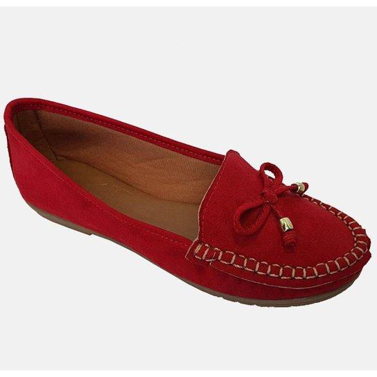 Sapatilha Mocassim Feminino Costurado À Mão Moda Pé 2 - Vermelho