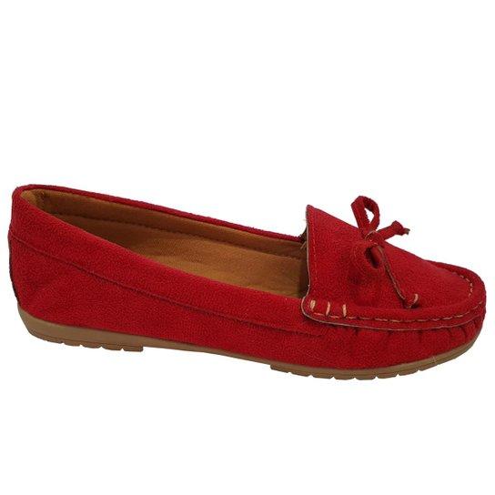 Sapatilha Mocassim Moda Pé Costurado Feminina - Vermelho