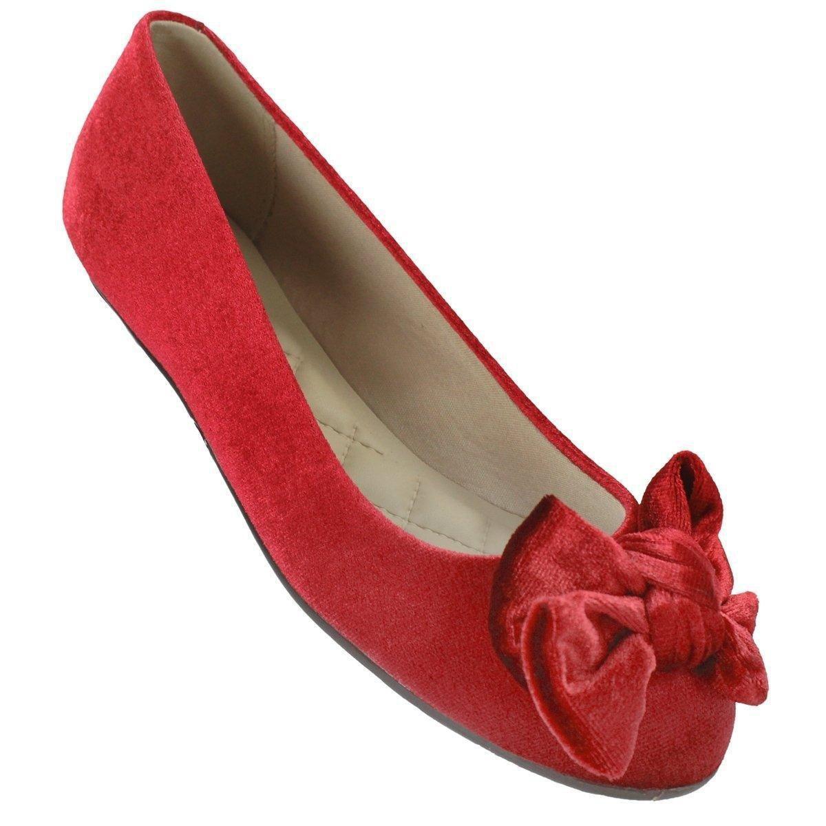 Sapatilha Moleca Laço Veludo Feminina - Vermelho