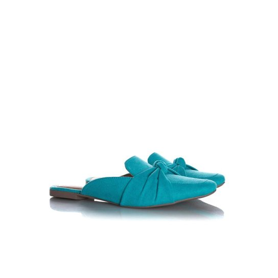 Sapatilha Mule Feminino Liliana com Laço Verde - Azul Claro