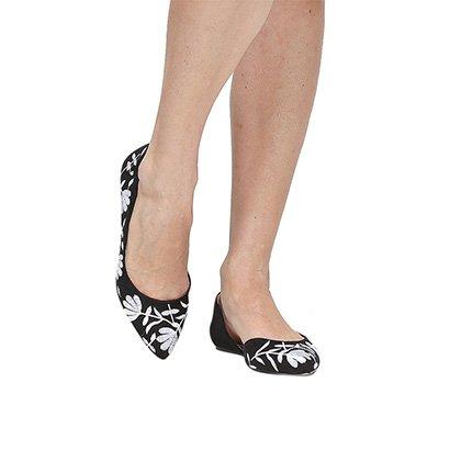 Sapatilha Shoestock Bico Fino Bordada - Feminino