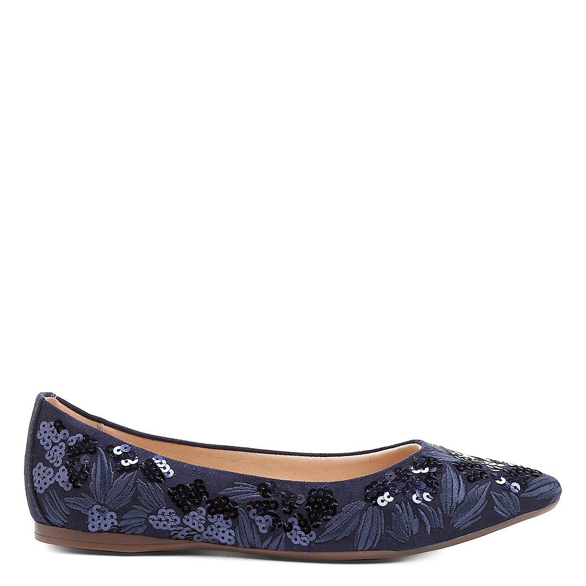 Floral Sapatilha Fino Marinho Sapatilha Bordado Bico Shoestock Shoestock 5RwxnZqY1p