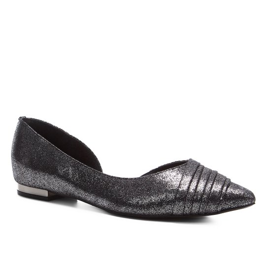 Sapatilha Shoestock Bico Fino Plissada Feminina - Prata
