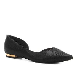 Sapatilha Shoestock Bico Fino Plissada Feminina