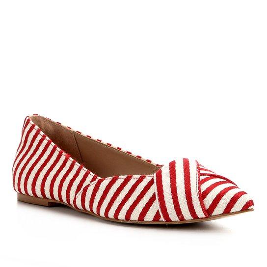 Sapatilha Shoestock Bico Fino Tecido - Vermelho