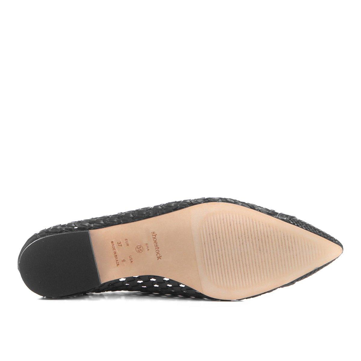Shoestock Sapatilha Sapatilha Shoestock Feminina Sapatilha Tressê Fino Bico Preto Feminina Preto Bico Tressê Fino XHq0x8nw