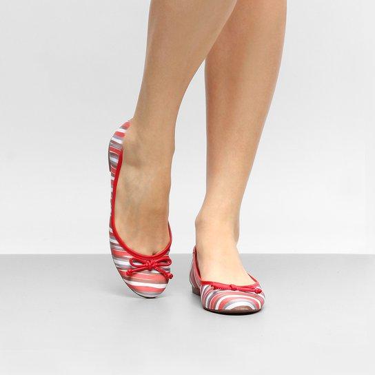 Sapatilha Shoestock Bico Redondo Estampada Feminina - Vermelho