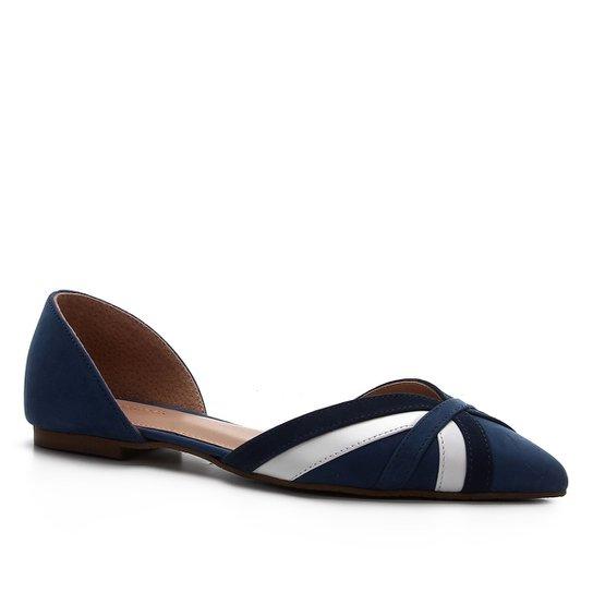 Sapatilha Shoestock Couro Summer Curves - Marinho