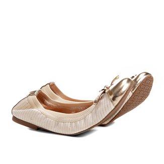 Sapatilha Shoestock Elástico Recorte Metalizado Feminina