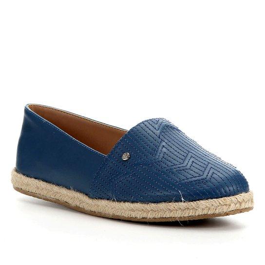 Sapatilha Shoestock Flat Corda Couro Matelasse - Azul