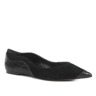 Sapatilha Shoestock Nobuck Bico Fino Recortes Feminina