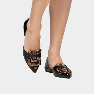 Sapatilha Shoestock Semi Aberta Franja Onça