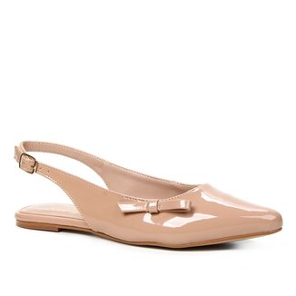 Sapatilha Shoestock Slingback Verniz Naked Feminina