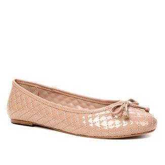 Sapatilha Shoestock Verniz Matelassê Bico Redondo Naked