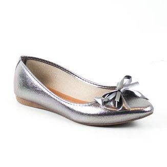 Sapatilha Tag Shoes Metalizada Laço Bico Fino Conforto