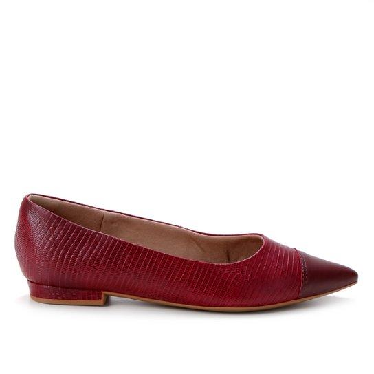 Sapatilha Usaflex Textura Bico Fino Feminina - Vermelho Escuro