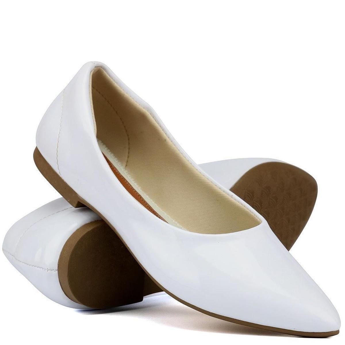 Sapatilha Yes Basic Bico Fino Verniz Confortável Feminina - Branco