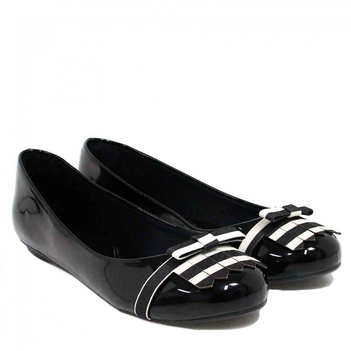 Verniz Zariff Zariff Franja Shoes Laço Shoes Sapatilha Preto Sapatilha pHfwPY