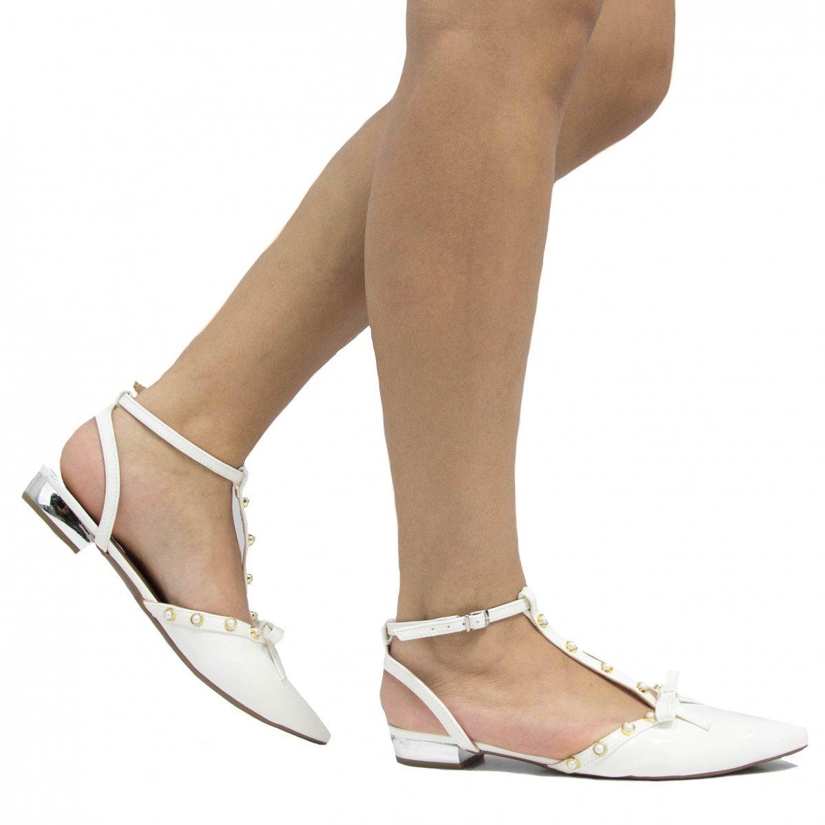 Sapatilha Feminina Zariff Zariff Laço Verniz Feminina Shoes Laço Shoes Sapatilha Branco Verniz wvYSaXqxn