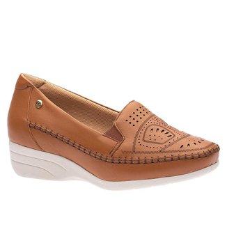 Sapato Anabela Doctor Shoes Couro 3136 Ambar