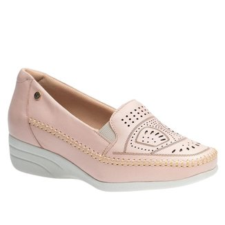 Sapato Anabela Doctor Shoes Couro 3136 Quartzo
