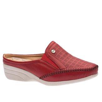 Sapato Anabela Doctor Shoes Couro Vermelho