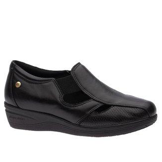 Sapato Anabela Doctor Shoes Diabético Couro 7800 Preto
