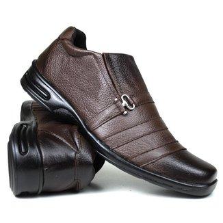 Sapato Anti Stress Casual Masculino Confort  Couro