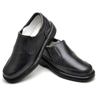 Sapato Anti Stress Masculino em Couro Preto 2009 PRETO