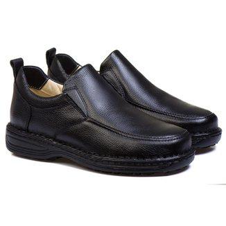 Sapato Anti Stress Masculino em Couro Preto 8001 PRETO