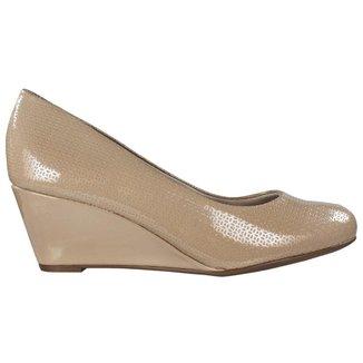 Sapato Beira Rio Anabela Feminino Verniz Bege